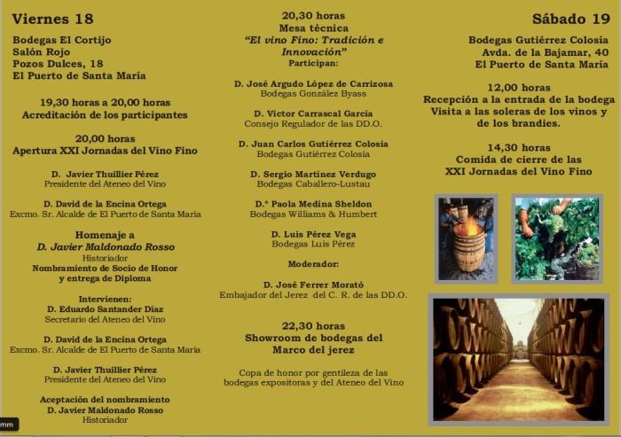 Programa jornadas del Ateneo del Vino